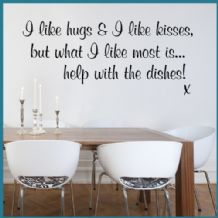 I Like Hugs & I Like Kisses Funny Kitchen ~ Wall sticker / decals